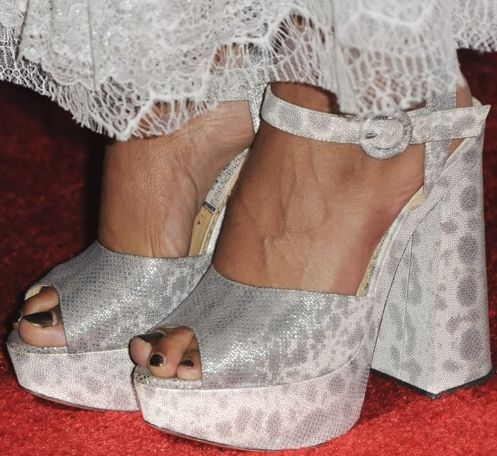 "Tessa Thompson wearing Charlotte Olympia ""Wild at Heart"" sandals at the ""Woodshock"" premiere"