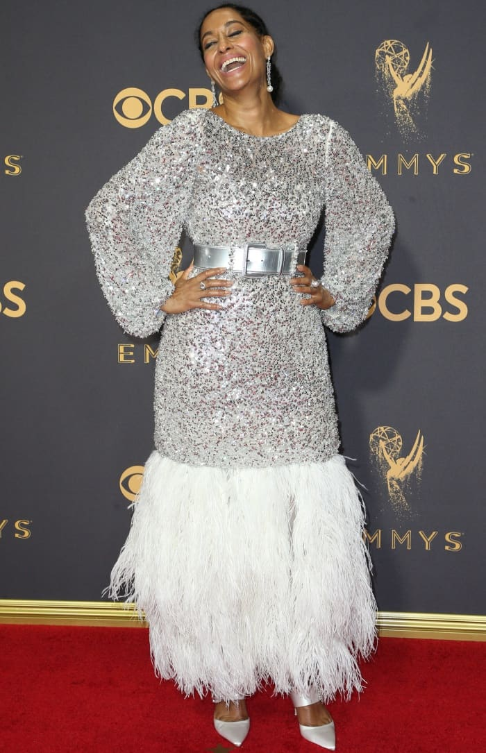 Tracee Ellis Ross wearing a Chanel Spring 2017 Couture gown and Roger Vivier white satin pointy-toe pumps at the 2017 Emmy Awards