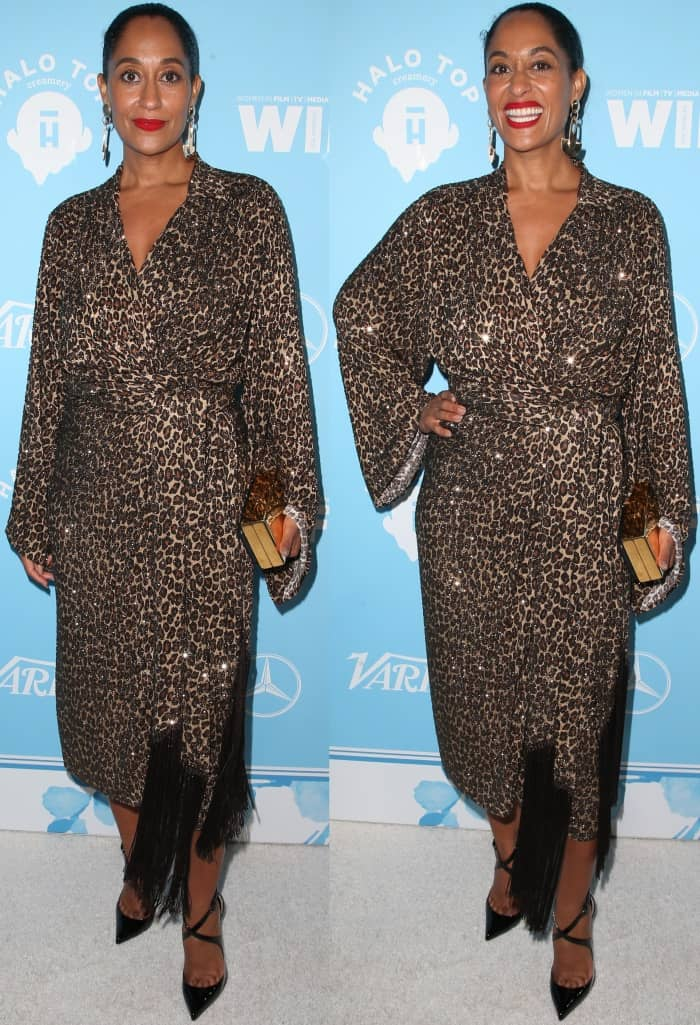 Tracee Ellis Ross wearing a Michael Kors Collection Fall 2017 dress and Christian Louboutin pumps at Variety and Women in Film's 2017 Pre-Emmy party
