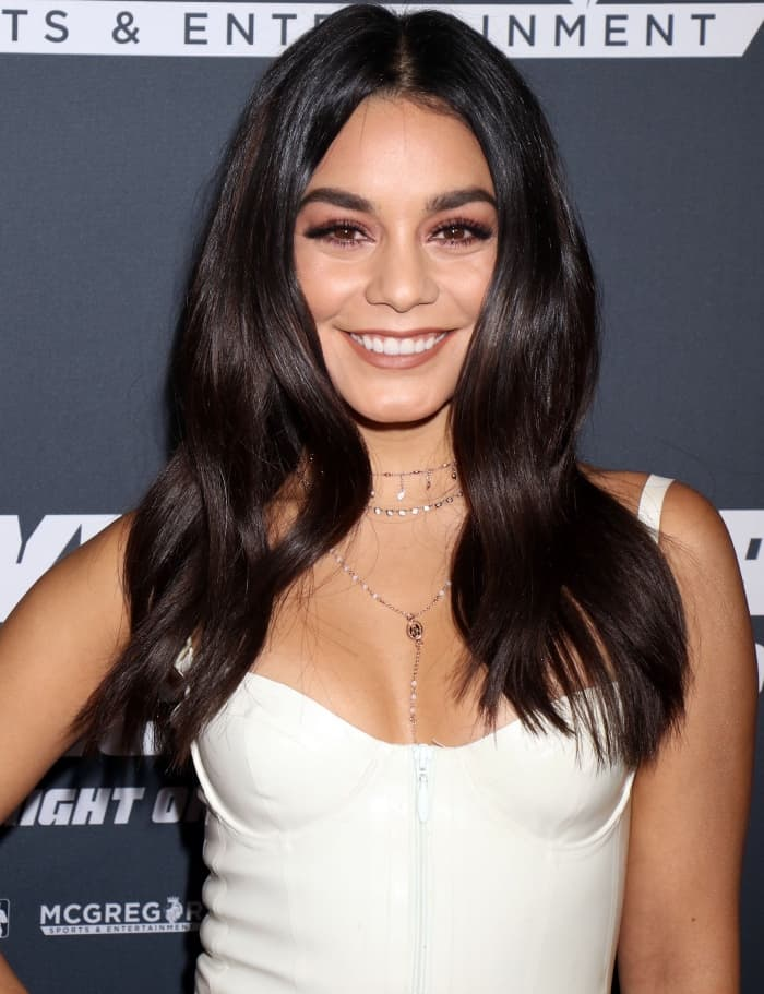 Vanessa Hudgens wearing a House of CB dress at the Mayweather vs. McGregor pre-fight VIP party