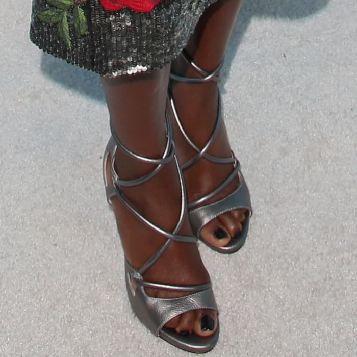 Viola Davis wearing metallic sandals at Variety and Women in Film's 2017 Pre-Emmy party