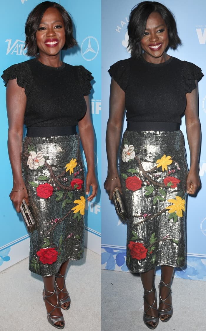 Viola Davis wearing an Alice + Olivia ensemble and metallic sandals at Variety and Women in Film's 2017 Pre-Emmy party