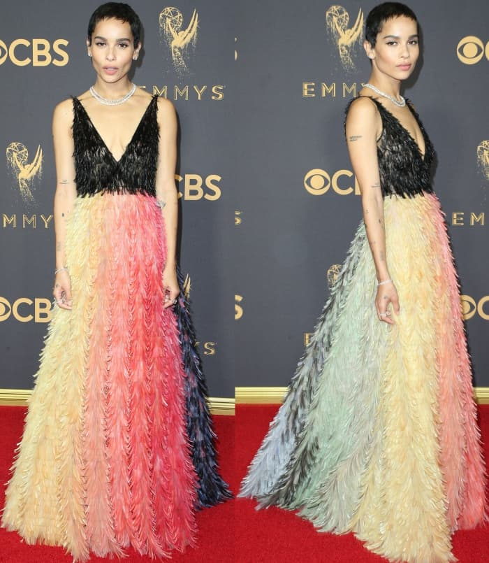 Zoe Kravitz wearing a Christian Dior Fall 2017 Couture gown at the 69th Emmy Awards