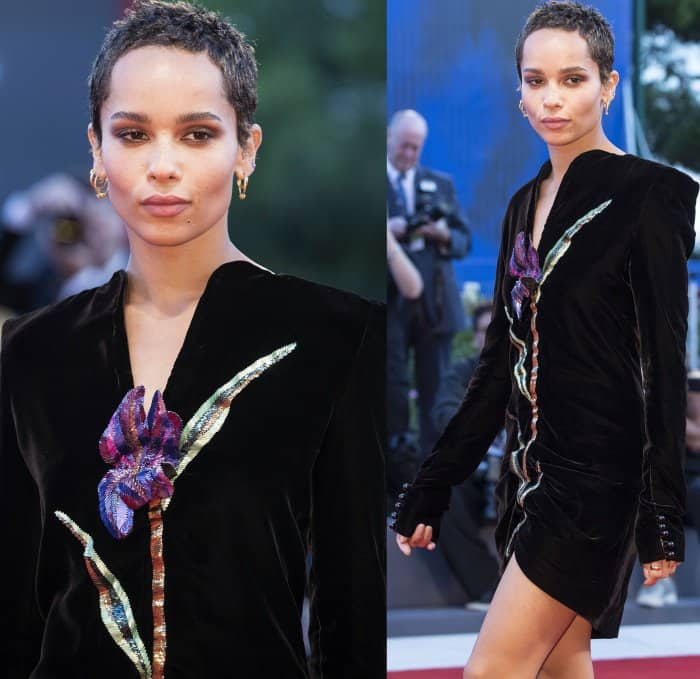 """Zoe Kravitz wearing a Saint Laurent Fall 2017 black velvet dress and black ankle-strap sandals at the """"Racer and the Jailbird"""" premiere during the 74th Venice Film Festival"""