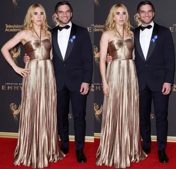 Zosia Mamet with husband Evan Jonigkeit at the 2017 Creative Arts Emmy Awards