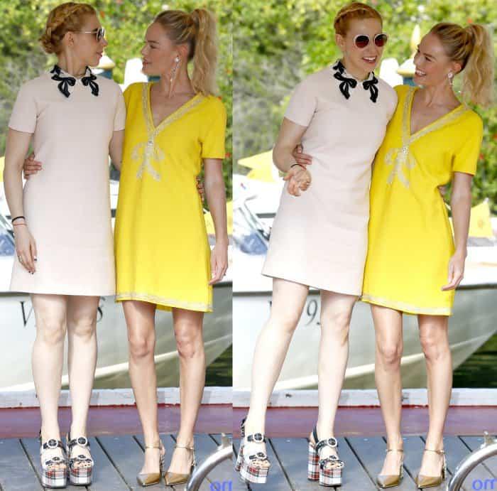 Zosia Mamet and Kate Bosworth wearing Miu Miu at the 74th Venice Film Festival
