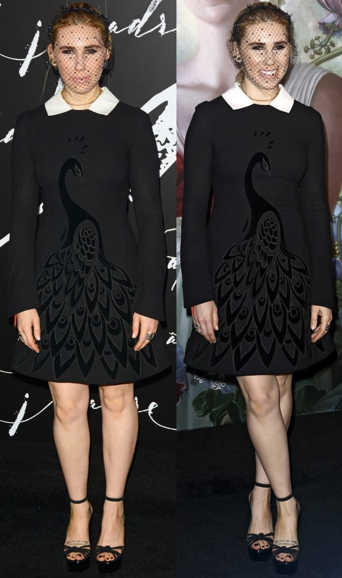 """Zosia Mamet wearing a Yanina Fall 2016 Couture dress and black platform sandals at the """"Mother!"""" premiere"""