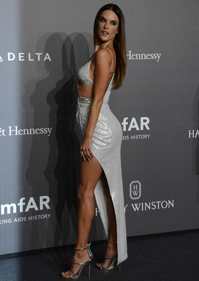 Alessandra Ambrosio at the 2017 amfAR Milano gala held at the La Permanente museum in Milan, Italy, on September 21, 2017