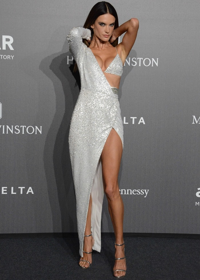 Alessandra kept her styling simple, opting for a silver choker and a pair of silver Giuseppe Zanotti heels to finish off her look