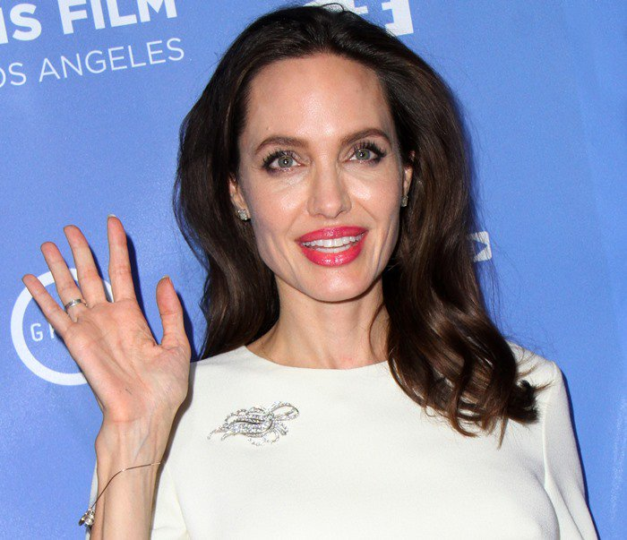 Angelina Jolie wearing a Ulyana Sergeenko dress at 'The Breadwinner' premiere in Hollywood on October 20, 2017