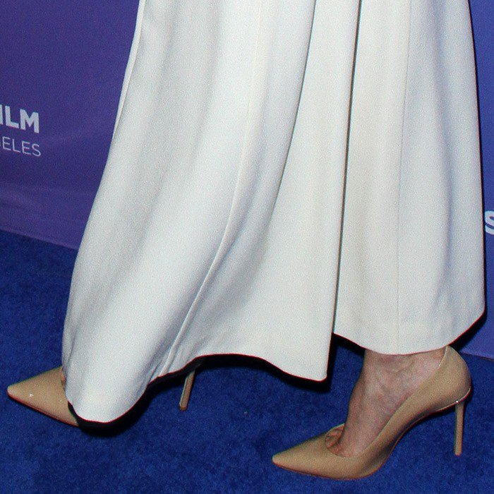 Angelina Jolie completed her outfit with Tamara Mellon nude 'Rebel' pumps