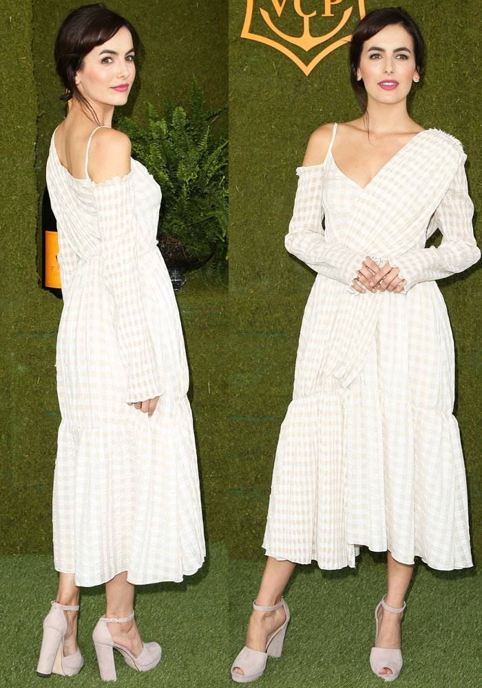 Camilla makes a fresh entrance in a ruched gingham dress from Adeam's Resort 2018 collection