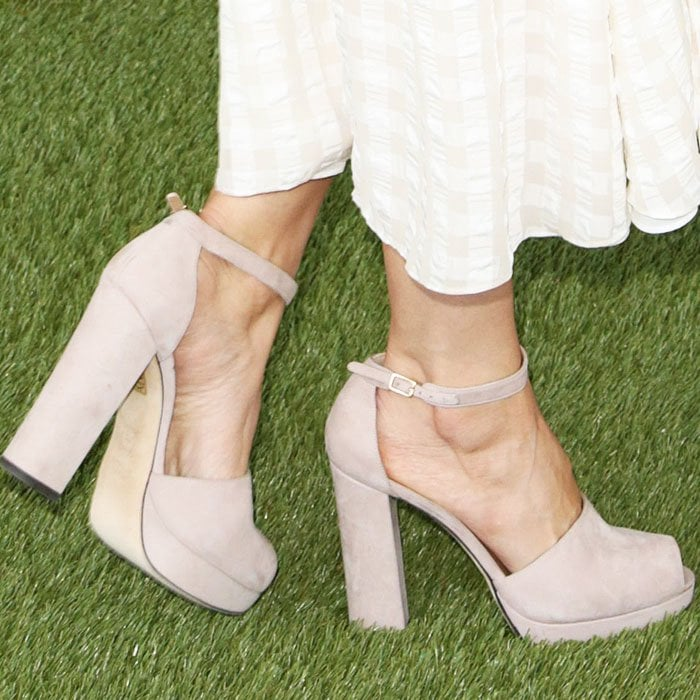"Blushing beauty: Camilla picks out pale pink Stuart Weitzman ""Valleygirl"" suede sandals"
