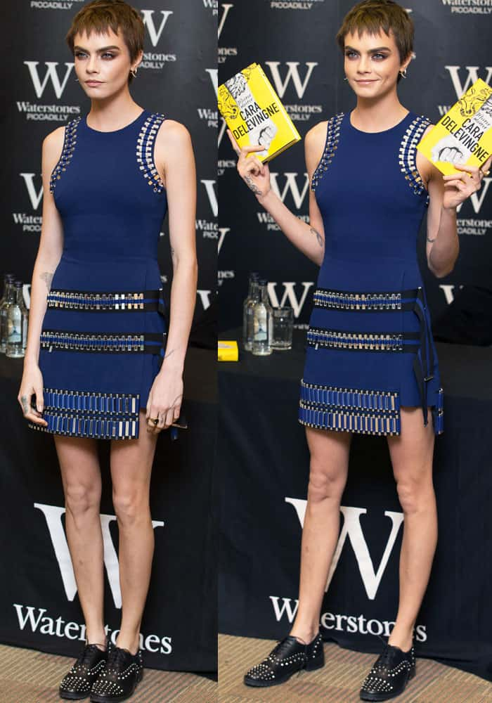 Cara goes studded in a short blue dress by David Koma