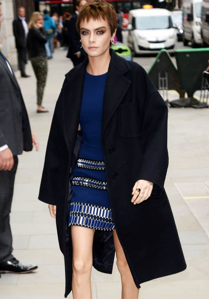Cara Delevingne outside the Global House right before the book launch