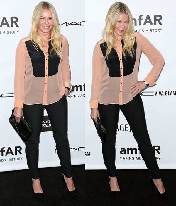 Chelsea Handler attended the amfAR 3rd Annual Inspiration Gala wearing a simple yet undeniably chic ensemble consisting of an Elizabeth and James tuxedo shirt that she matched with a pair of black pants, pumps, and a clutch bag