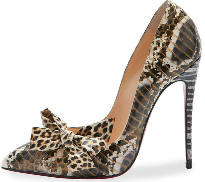 Christian Louboutin Madame Menodo Snakeskin 100mm Red Sole Pump