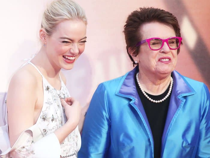Emma shares a few laughs with real life tennis champ, Billie Jean King