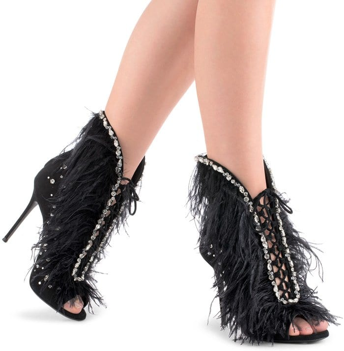 Giuseppe Zanotti 'Charleston' Black Suede and Feathers High Heel Sandals