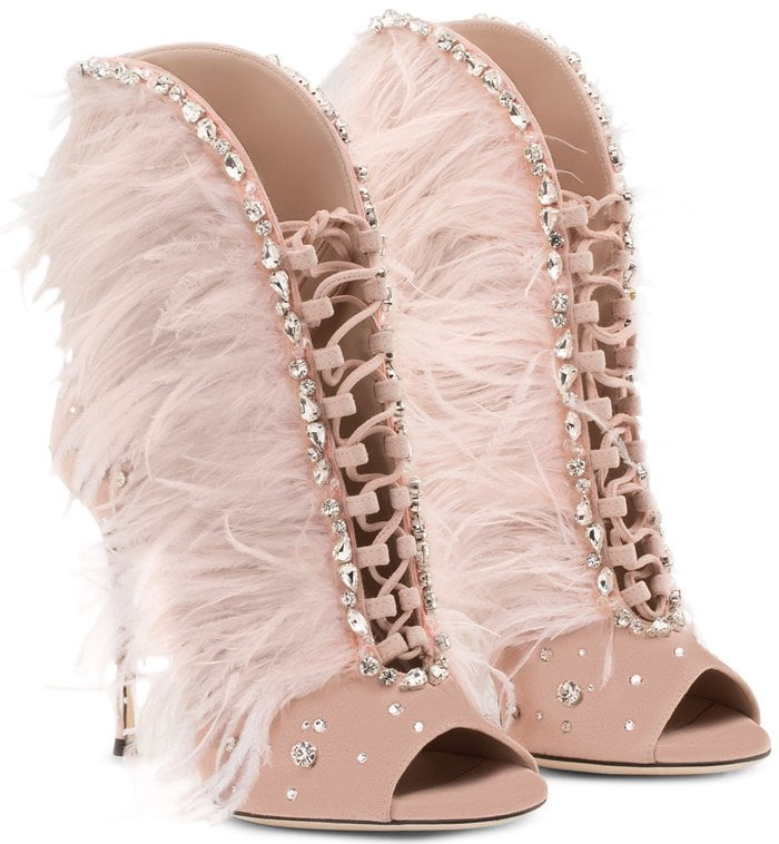Charleston Suede And Feathers High Heel Sandals By