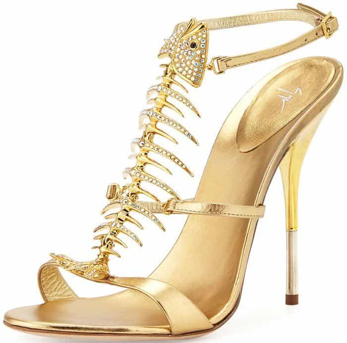 Giuseppe Zanotti Crystal Fishbone Metallic Sandal