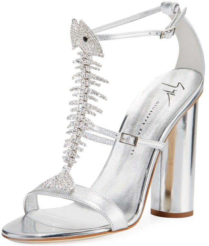Giuseppe Zanotti metallic leather sandals with Swarovski crystal fish skeleton center