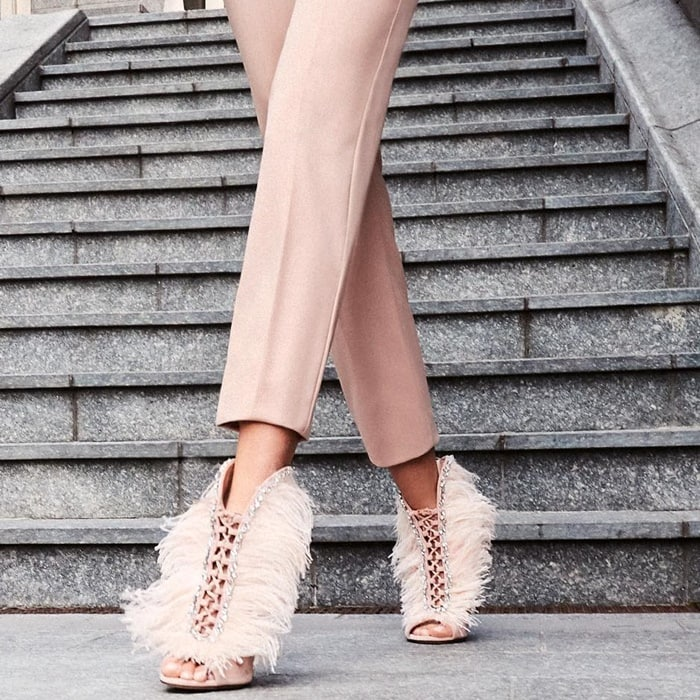 Giuseppe Zanotti 'Charleston' Suede and Feathers High Heel Sandals, $1,995