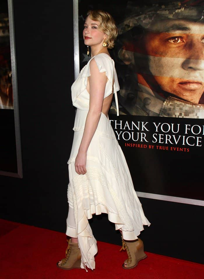 Haley Bennett looking effortlessly feminine in Chloé at the 'Thank You For Your Service' LA premiere held at the Regal LA Live Stadium 14 Theatres in Los Angeles on October 23, 2017