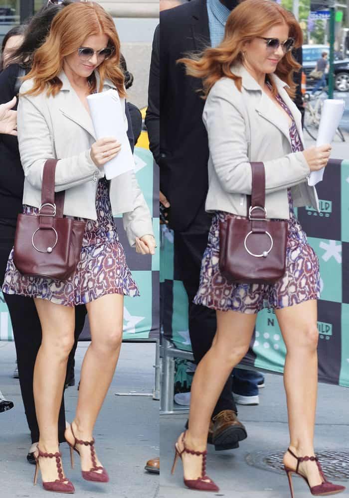Isla stepped out in Manhattan wearing a Ba&sh print chiffon dress