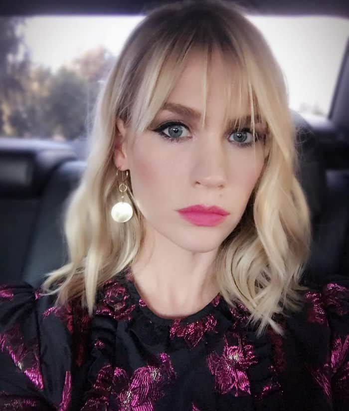 January Jones takes a selfie in the car on the way to the FOX event