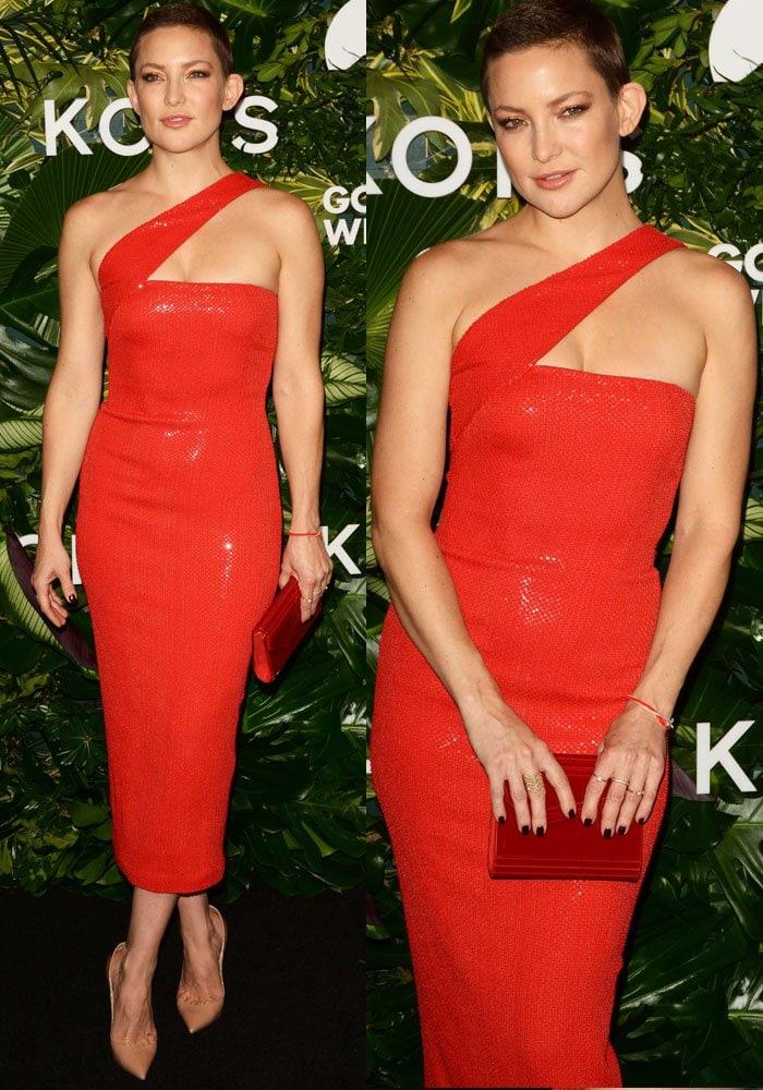 Crimson queen: Kate rocks a custom Michael Kors beaded asymmetrical dress