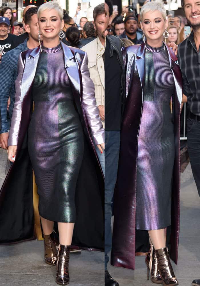 Katy cuts a cool image in an all-metallic look