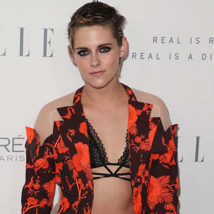 Kristen Stewart wearing an edgy suit at Elle's Women in Hollywood Celebration at the Four Seasons Hotel in Beverly Hills, California, on October 16, 2017