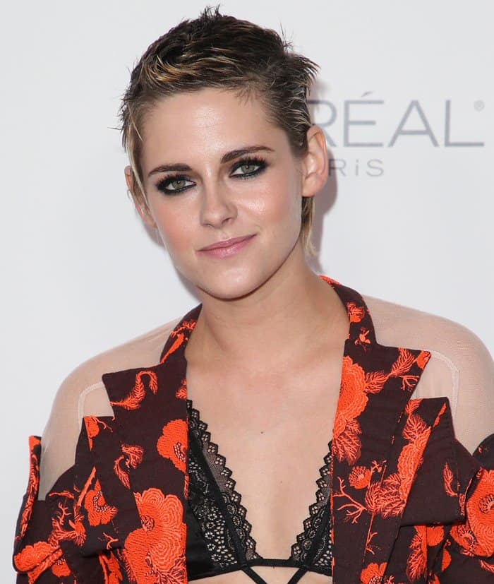 Kristen Stewart stepped out at the annual event in an edgy floral-jacquard suit from Antonio Berardi's Resort 2018 collection