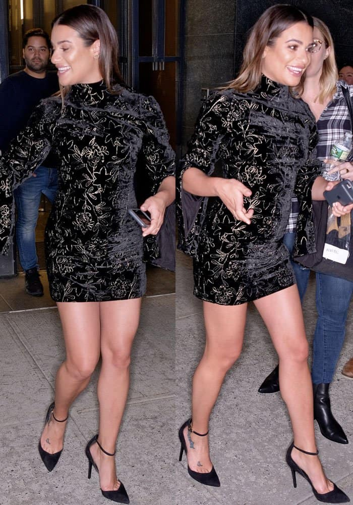 """Lea shows off her toned legs in the Cinq A Sept """"Winslow"""" dress"""