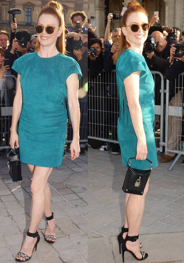 Julianne Moore at the Louis Vuitton Spring/Summer 2018 show during Paris Fashion Week in France on October 3, 2017