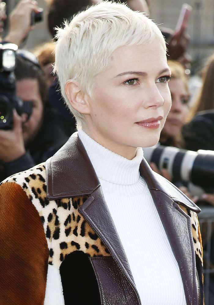 Michelle Williams at the Louis Vuitton Spring/Summer 2018 show during Paris Fashion Week in France on October 3, 2017