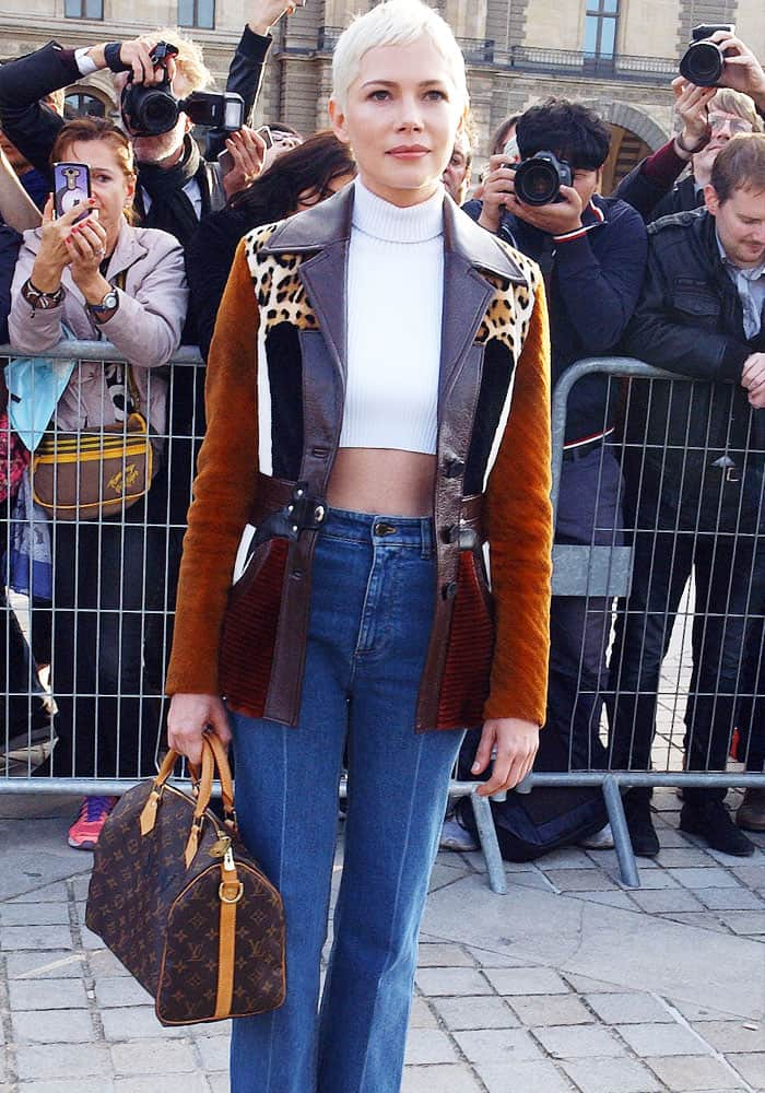 The actress layered on a beautiful patchwork jacket