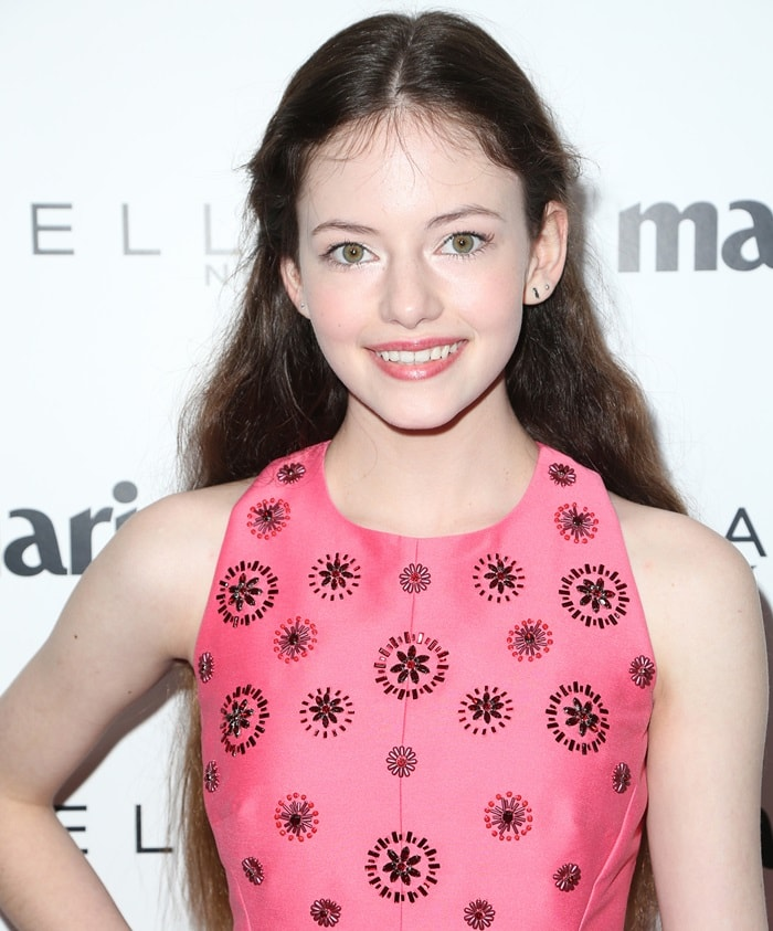 """Mackenzie Foy wearing a pink embellished Kate Spade New York dress at Marie Claire's """"Fresh Faces"""" in West Hollywood on April 21, 2017"""