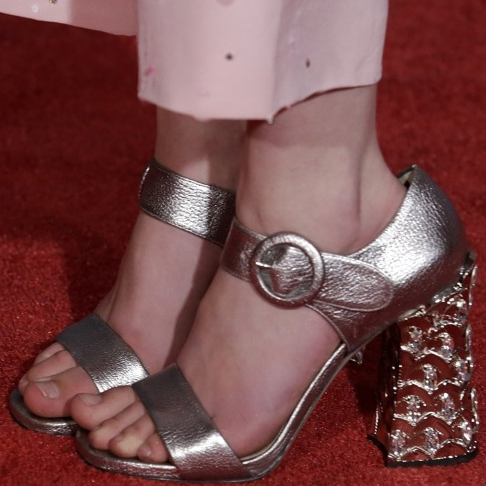 Mackenzie is all grown up in a pair of chic jeweled Miu Miu sandals