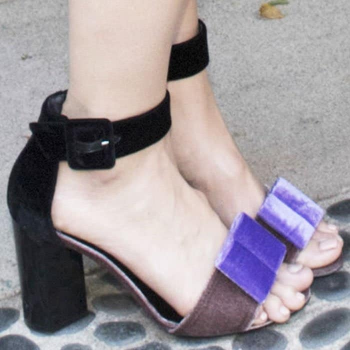 "Mandy was all about the bows in the Pierre Hardy ""Obi"" bow sandals"
