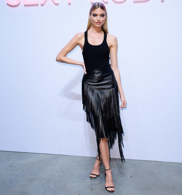 """Martha Hunt at the Michael Kors """"Sexy Ruby"""" fragrance launch in London, England, on September 20, 2017."""