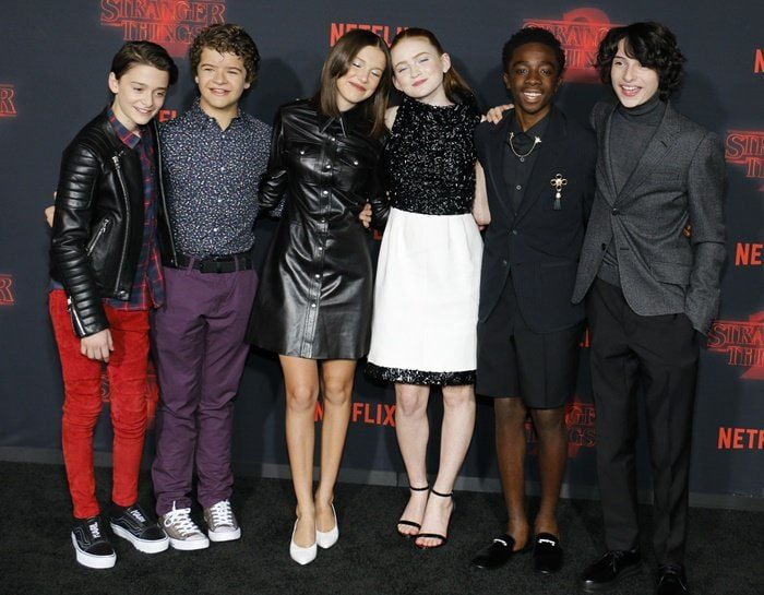 Millie promoting the popular series with Finn Wolfhard, Noah Schnapp, Caleb McLaughlin, Gaten Matarazzo, and Sadie Sink