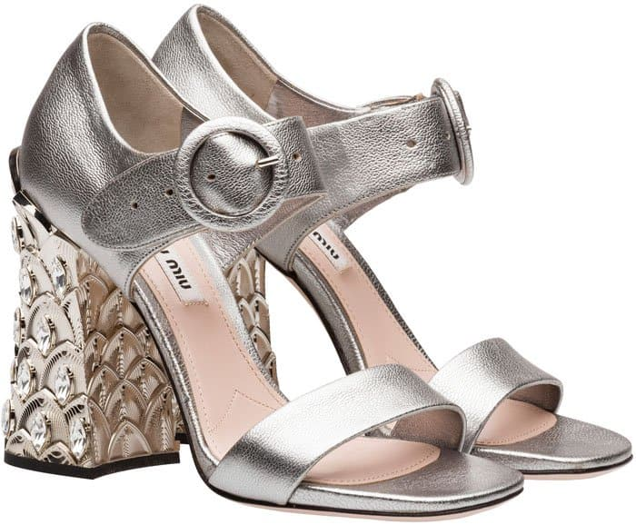 Miu Miu metallic goat leather sandals