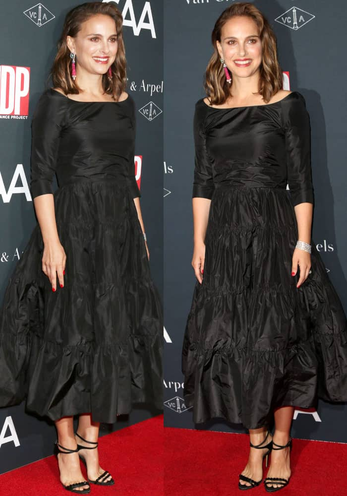 Natalie wears a frumpy black dress from Christian Dior's Fall 2017 collection