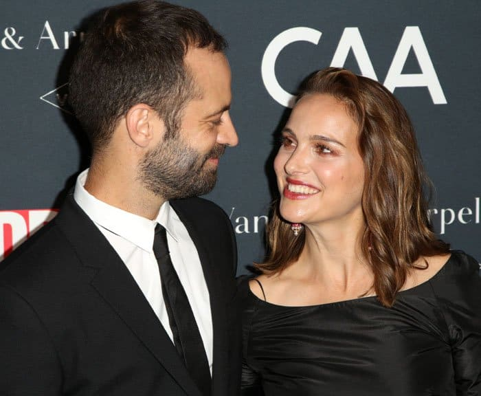 Look of love: Natalie supports husband, dancer and choreographer Benjamin Millepied