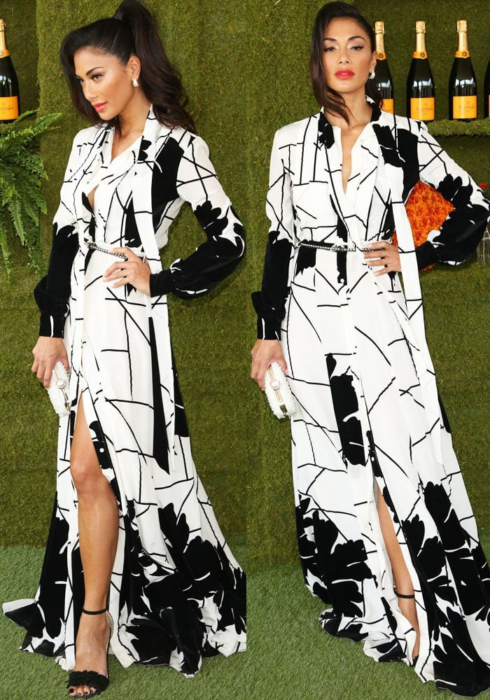 Nicole shows off some leg in a two-toned Mario Dice print dress