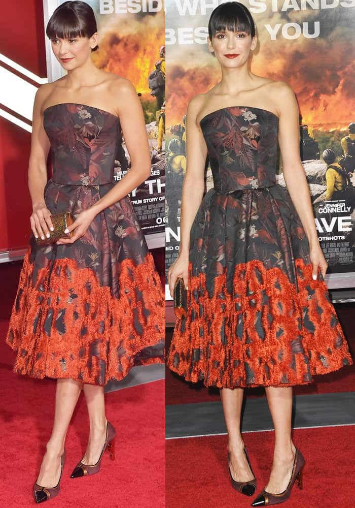 Nina ushered in autumn in a vibrant leaf-print dress by Zac Posen