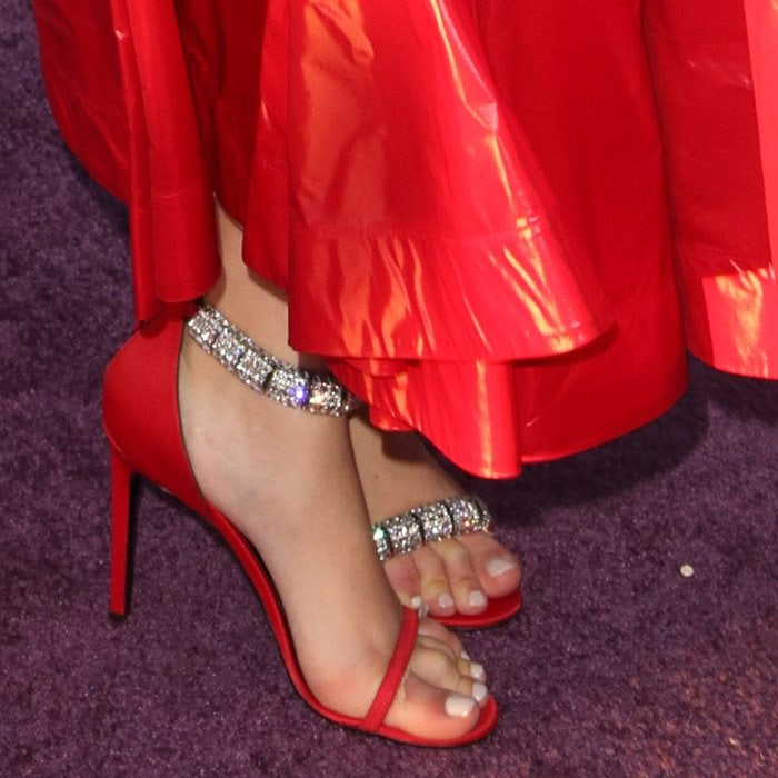 "Olivia Cooke's feet in red Calvin Klein 205W39NYC ""Camelle"" crystal-embellished sandals"