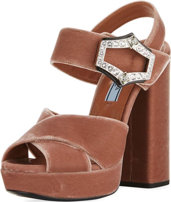 Prada jeweled-buckle velvet platform sandals
